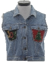 Womens Ugly Christmas Denim Vest