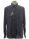 Mens Designer Shiny Nylon Geometric Op-Art Print Disco Shirt*