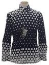Mens Designer Shiny Nylon Op Art Print Disco Shirt*