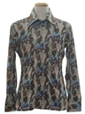 Mens Shiny Nylon Art Print Disco Shirt*