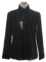 Mens Designer Shiny Nylon Saturday Night Fever Style Solid Disco Shirt*