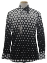 Mens Shiny Nylon Op-Art Print Disco Shirt*