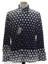 Mens Designer Shiny Nylon Op-Art Print Disco Shirt*