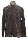 Mens Designer Geometric Art Print Disco Shirt*