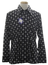 Mens Designer Shiny Nylon Op-Art Print Disco Shirt*
