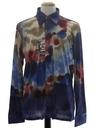 Mens Designer Shiny Nylon Abstract Print Disco Shirt*