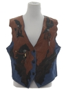 Womens Western Style Leather Denim Vest