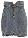 Womens Wicked 90s Acid Wash Denim Skirt