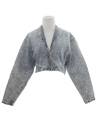 Womens Totally 80s Acid Wash Denim Jacket Coat