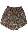 Womens Totally 80s Print Baggy Pants Style Shorts