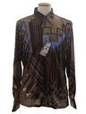 Mens Designer Shiny Nylon Geometric Print Disco Shirt*
