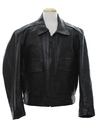 Mens Leather Police Motorcycle Style Jacket