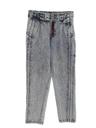 Mens Acid Washed Baggy Tapered Leg Denim Jeans Pants
