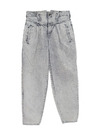 Womens Acid Washed Baggy Tapered Leg Denim Jeans Pants