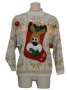 Unisex Red Lightup Hand Embellished Ugly Christmas Vintage Sweater
