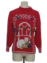 Womens Red Lightup Cat-Tastic Hand Embellished Ugly Christmas Vintage Sweater