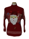 Unisex Red Lightup Hand Embellished Ugly Christmas Sweater