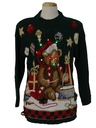 Unisex Multicolor Lightup Bear-iffic Hand Embellished Ugly Christmas Vintage Sweater