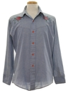 Mens Hippie Western Embroidered Chambrey Shirt