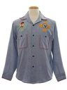 Mens Hippie Embroidered Chambrey Shirt