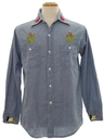 Mens Hippie Embroidered Chambray Shirt