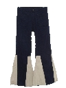 Mens Elephant Bellbottom Leather Inset Jeans Pants