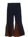 Mens Elephant Bellbottom Suede Leather Jeans Pants