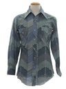 Mens Western Style Print Disco Shirt
