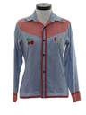 Womens Mod Chambray Western Hippie Shirt