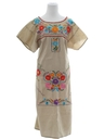 Womens Embroidered Mexican Hippie Dress