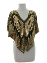 Womens Totally 80s Butterfly Sequined Cocktail Shirt