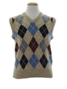 Mens Argyle Totally 80s Sweater Vest