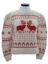 Womens Vintage Wool Reindeer Ski Sweater