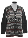 Womens Reindeer Cardigan Ski Sweater