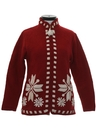 Womens Wool Snowflake Ski Sweater Jacket