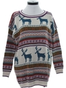 Womens Vintage Totally 80s Reindeer Ski Sweater