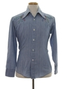 Mens Chambray Embroidered Hippie Shirt