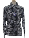 Mens Shiny Nylon Print Disco Shirt*