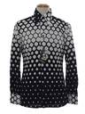 Mens Designer Shiny Op Art Nylon Print Disco Shirt*