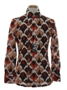 Mens Designer Shiny Nylon Geometric Print Disco Shirt*