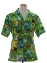 Mens Hawaiian Golf Photo Print Disco Shirt