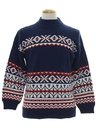 Mens Totally 80s Cosby Style Abstract Geometric Snowflake Ski Sweater