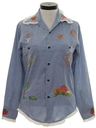 Womens Embroidered Chambray Hippie Shirt