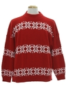 Mens Totally 80s Vintage Snowflake Ski Sweater