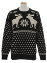 Mens Moose Snowflake Ski Sweater
