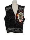 Unisex Vintage Amber Lightup Krampus Ugly Christmas Sweater Vest