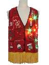 Unisex Vintage Hand Embellished Multicolor Lightup Ugly Christmas Sweater Vest