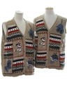 Unisex Matching Set of Two Country Kitsch Style Ugly Christmas Sweater Vests