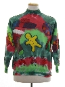 Womens Vintage Hand Tie Dyed Ugly Christmas Sweatshirt