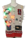 Unisex Hand Embellished Multicolor Lightup Country Kitsch Ugly Christmas Sweater Vest
